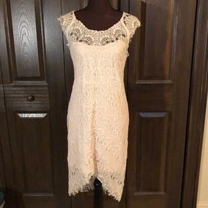 Free People Cream Lace Lined Short Sleeve Dress L